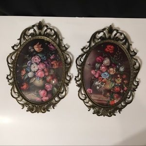 2 Bubble Glass Floral Picture Brass Frames Italy
